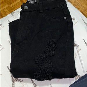 Black distressed high waisted fashion Nova jeans